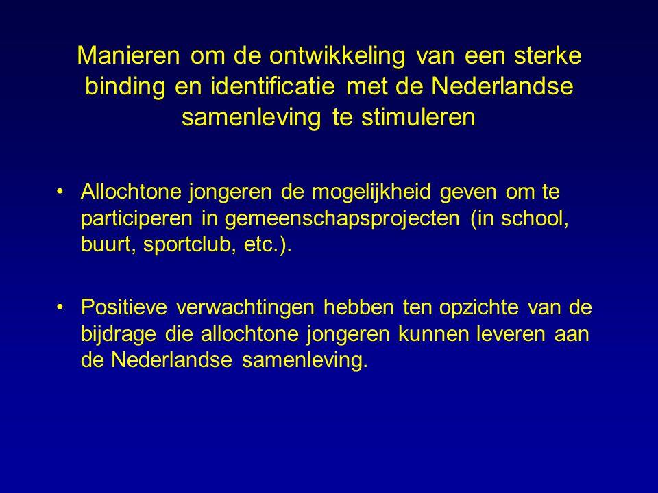 Manieren om de ontwikkeling van een sterke binding en identificatie met de Nederlandse samenleving te stimuleren Allochtone jongeren de mogelijkheid g