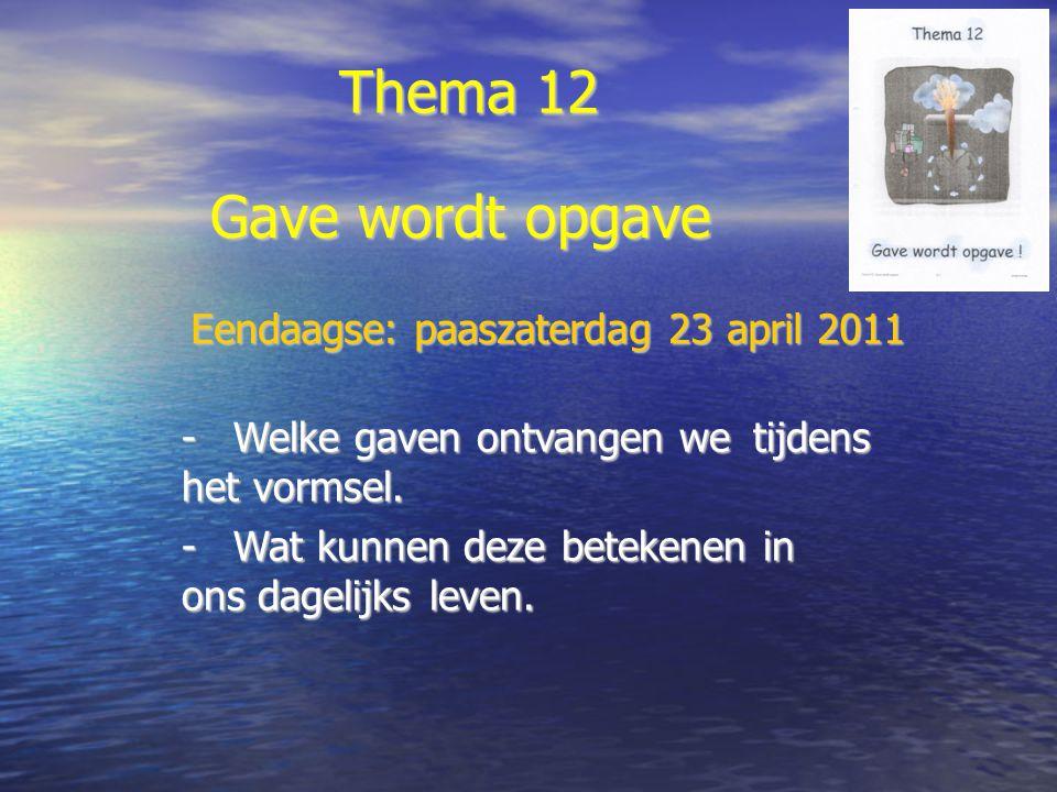Thema 12 -Welke gaven ontvangen we tijdens het vormsel.