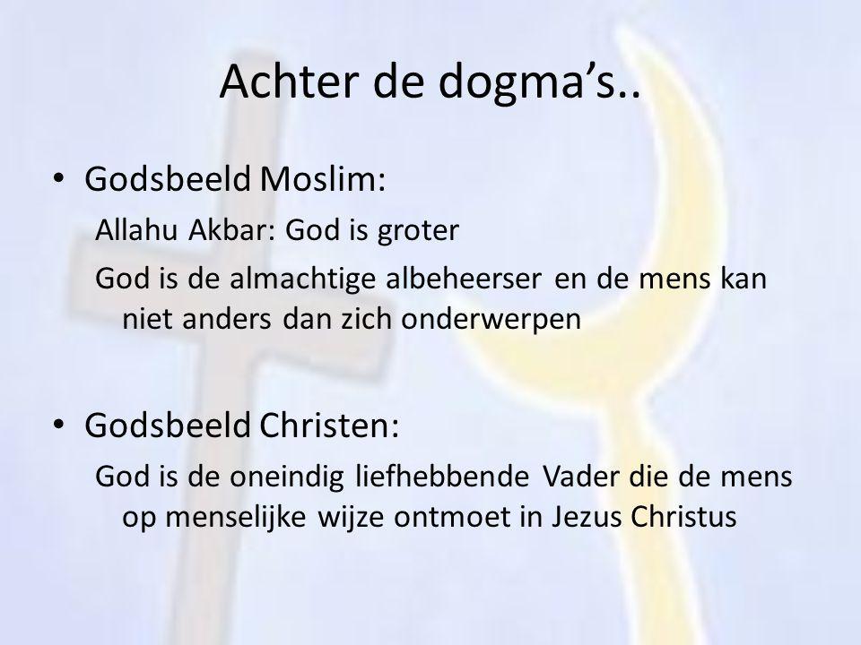 Achter de dogma's.. Godsbeeld Moslim: Allahu Akbar: God is groter God is de almachtige albeheerser en de mens kan niet anders dan zich onderwerpen God