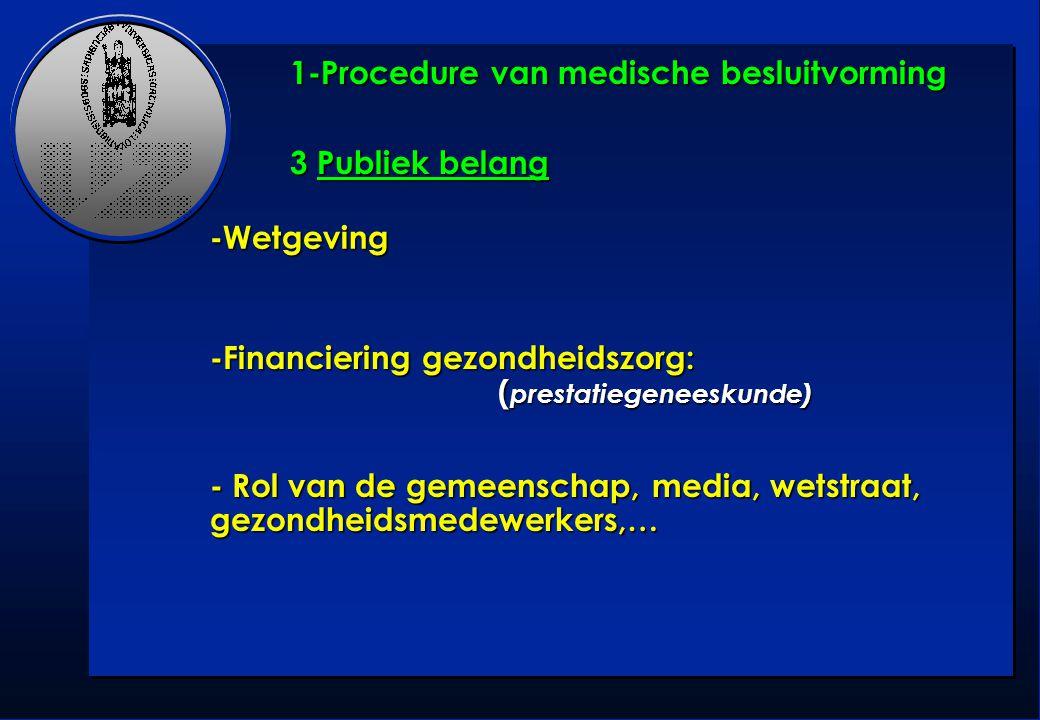 1-Procedure van medische besluitvorming 3 Publiek belang -Wetgeving -Financiering gezondheidszorg: ( prestatiegeneeskunde) - Rol van de gemeenschap, m