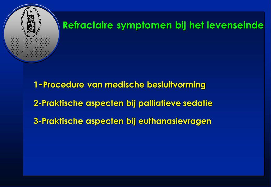 1 - Procedure van medische besluitvorming 2-Praktische aspecten bij palliatieve sedatie 3-Praktische aspecten bij euthanasievragen Refractaire symptom