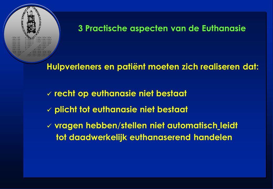 Hulpverleners en patiënt moeten zich realiseren dat: recht op euthanasie niet bestaat plicht tot euthanasie niet bestaat vragen hebben / stellen niet