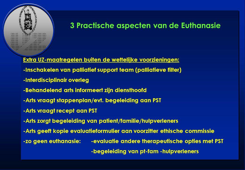 Extra UZ-maatregelen buiten de wettelijke voorzieningen: -Inschakelen van palliatief support team (palliatieve filter) -Interdisciplinair overleg -Beh