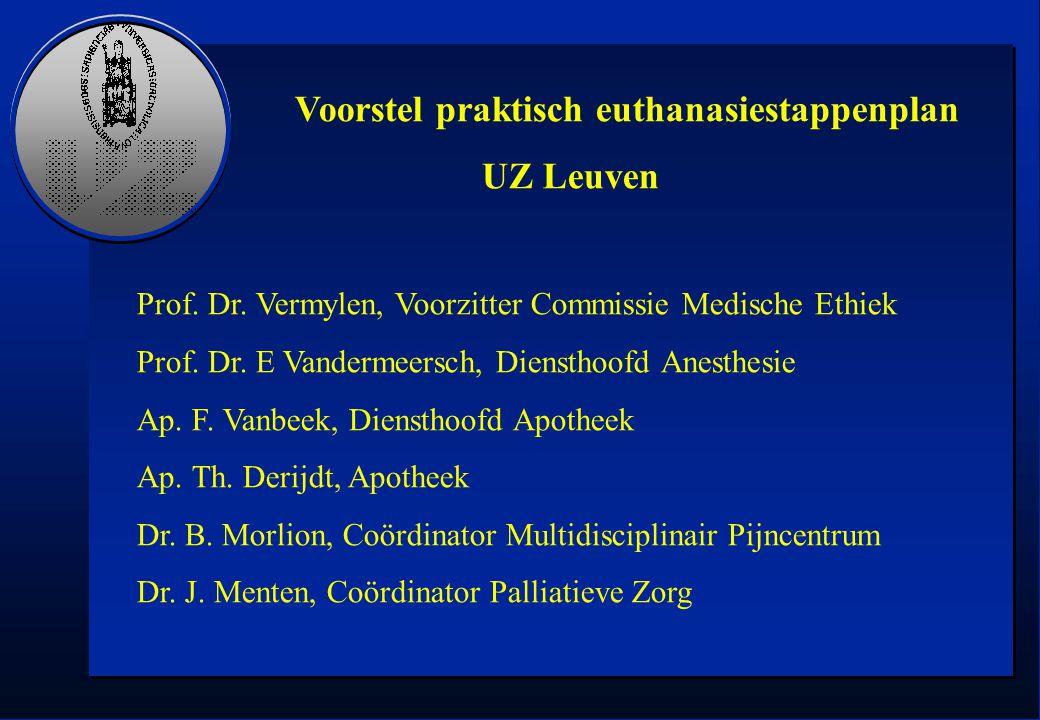 Voorstel praktisch euthanasiestappenplan UZ Leuven Prof. Dr. Vermylen, Voorzitter Commissie Medische Ethiek Prof. Dr. E Vandermeersch, Diensthoofd Ane