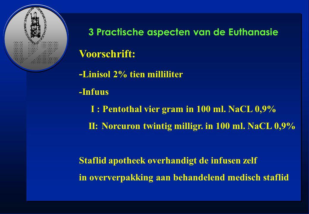 Voorschrift: - Linisol 2% tien milliliter -Infuus I : Pentothal vier gram in 100 ml. NaCL 0,9% II: Norcuron twintig milligr. in 100 ml. NaCL 0,9% Staf