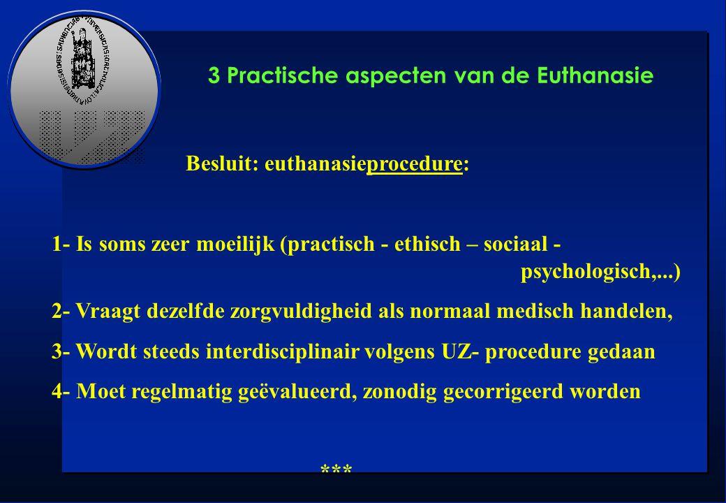 Besluit: euthanasieprocedure: 1- Is soms zeer moeilijk (practisch - ethisch – sociaal - psychologisch,...) 2- Vraagt dezelfde zorgvuldigheid als norma