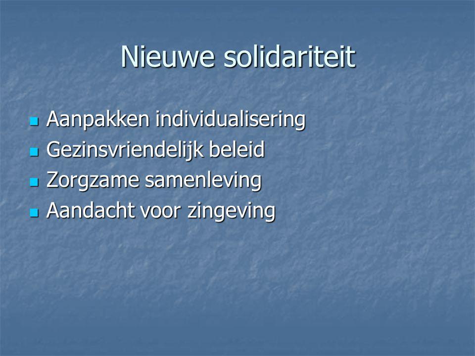 Nieuwe solidariteit Aanpakken individualisering Aanpakken individualisering Gezinsvriendelijk beleid Gezinsvriendelijk beleid Zorgzame samenleving Zor