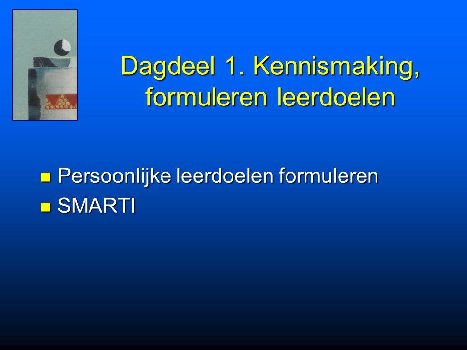 Dagdeel 1. Kennismaking, formuleren leerdoelen Persoonlijke leerdoelen formuleren Persoonlijke leerdoelen formuleren SMARTI SMARTI