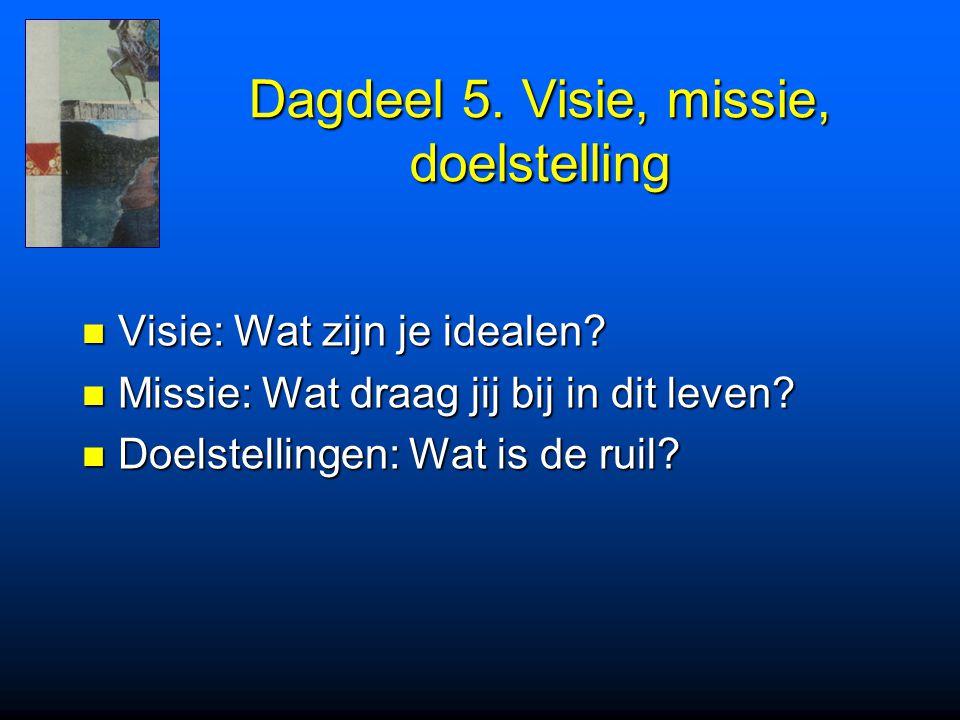 Dagdeel 5. Visie, missie, doelstelling Visie: Wat zijn je idealen? Visie: Wat zijn je idealen? Missie: Wat draag jij bij in dit leven? Missie: Wat dra