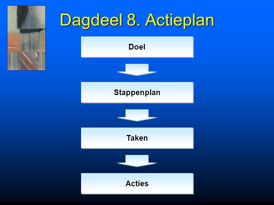 Dagdeel 8. Actieplan DoelDoel TakenTaken StappenplanStappenplan ActiesActies
