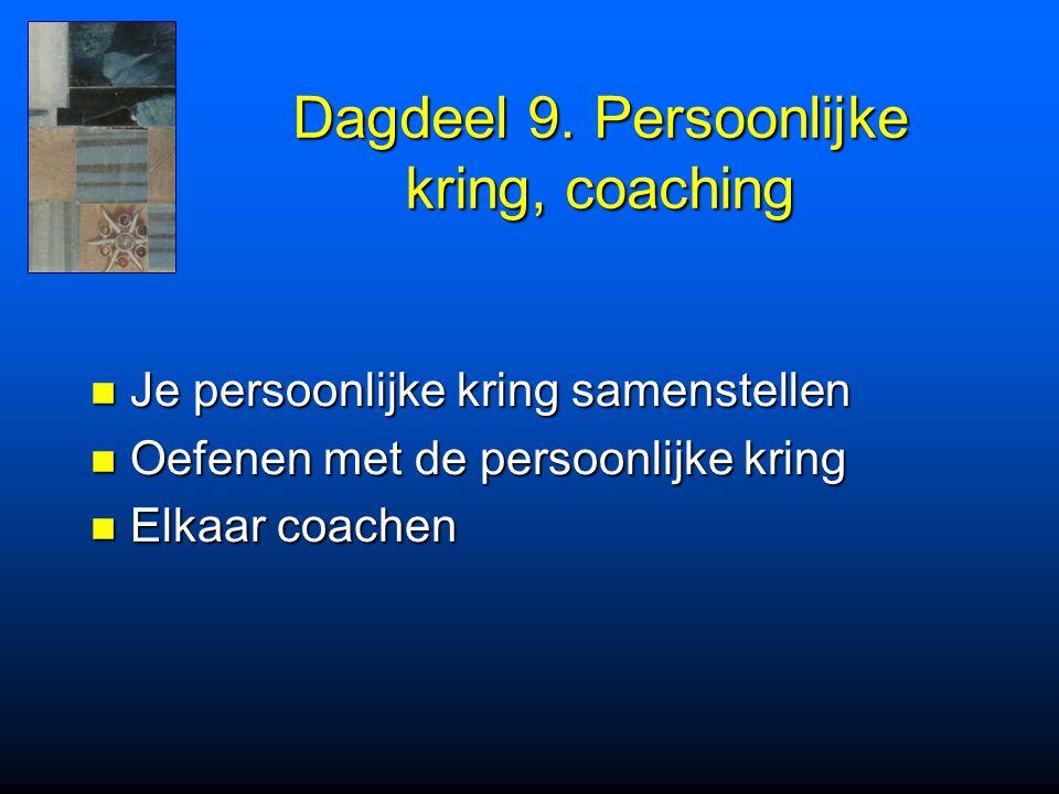 Dagdeel 9. Persoonlijke kring, coaching Je persoonlijke kring samenstellen Je persoonlijke kring samenstellen Oefenen met de persoonlijke kring Oefene
