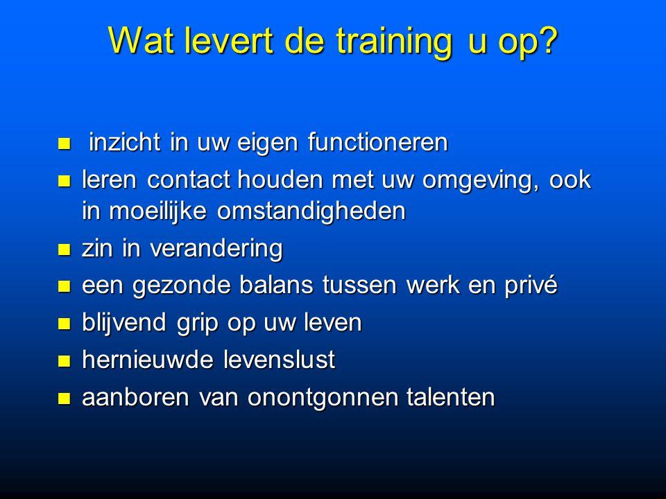 Wat levert de training u op? inzicht in uw eigen functioneren inzicht in uw eigen functioneren leren contact houden met uw omgeving, ook in moeilijke