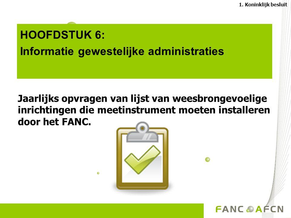 HOOFDSTUK 6: Informatie gewestelijke administraties Jaarlijks opvragen van lijst van weesbrongevoelige inrichtingen die meetinstrument moeten installeren door het FANC.