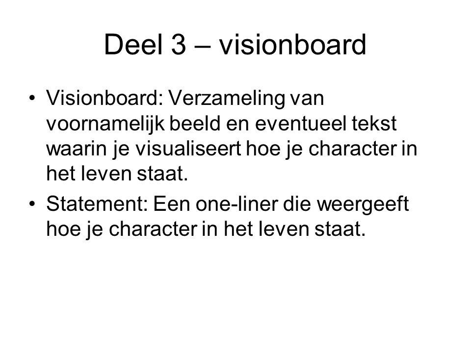 Deel 3 – visionboard Visionboard: Verzameling van voornamelijk beeld en eventueel tekst waarin je visualiseert hoe je character in het leven staat.