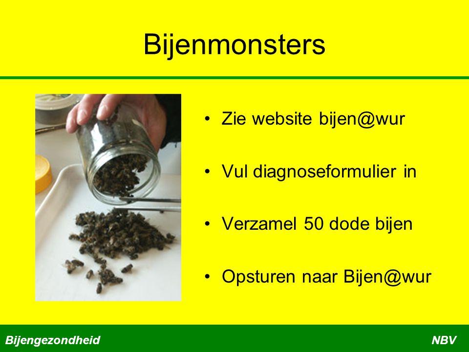 Bijenmonsters Zie website bijen@wur Vul diagnoseformulier in Verzamel 50 dode bijen Opsturen naar Bijen@wur BijengezondheidNBV