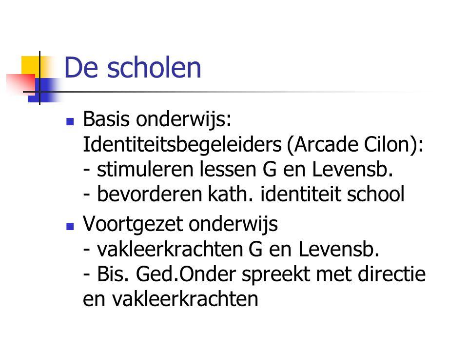 De scholen Basis onderwijs: Identiteitsbegeleiders (Arcade Cilon): - stimuleren lessen G en Levensb.