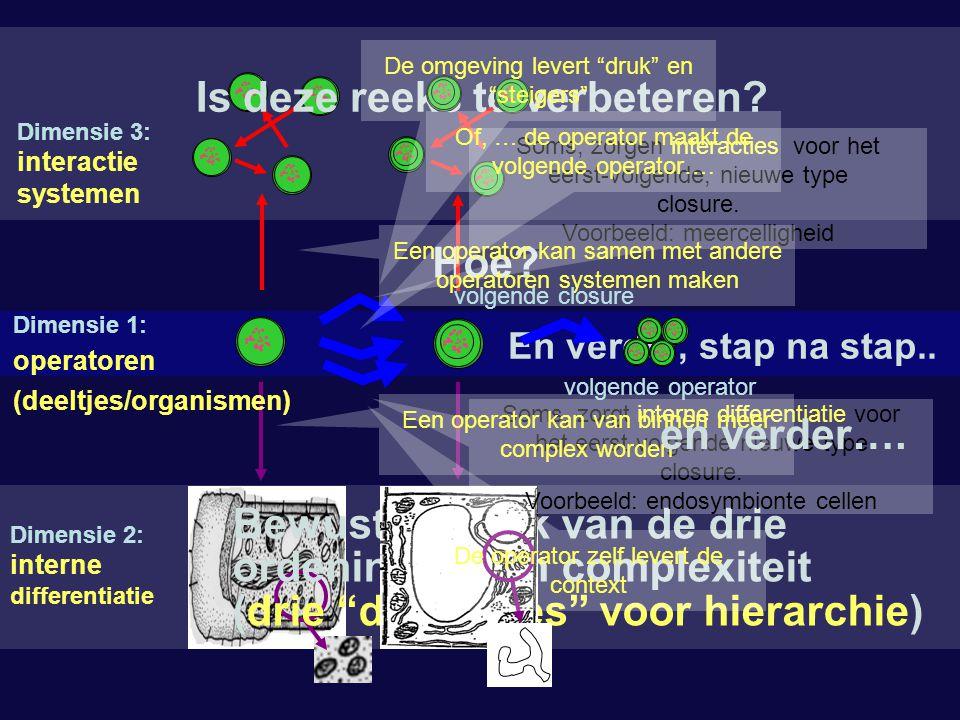 """Hoe? Bewust gebruik van de drie ordeningen van complexiteit (drie """"dimensies"""" voor hierarchie) Is deze reeks te verbeteren? Dimensie 2: interne differ"""