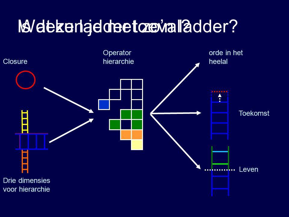 Wat kun je met zo'n ladder? Leven Toekomst Closure Drie dimensies voor hierarchie Operator hierarchie Is deze ladder toeval? orde in het heelal