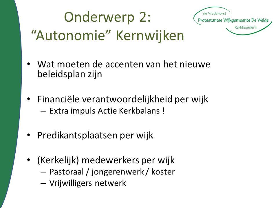 """Onderwerp 2: """"Autonomie"""" Kernwijken Wat moeten de accenten van het nieuwe beleidsplan zijn Financiële verantwoordelijkheid per wijk – Extra impuls Act"""