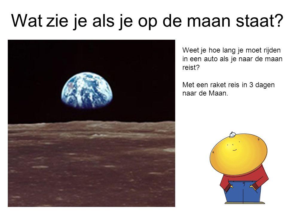 Wat zie je als je op de maan staat? Weet je hoe lang je moet rijden in een auto als je naar de maan reist? Met een raket reis in 3 dagen naar de Maan.