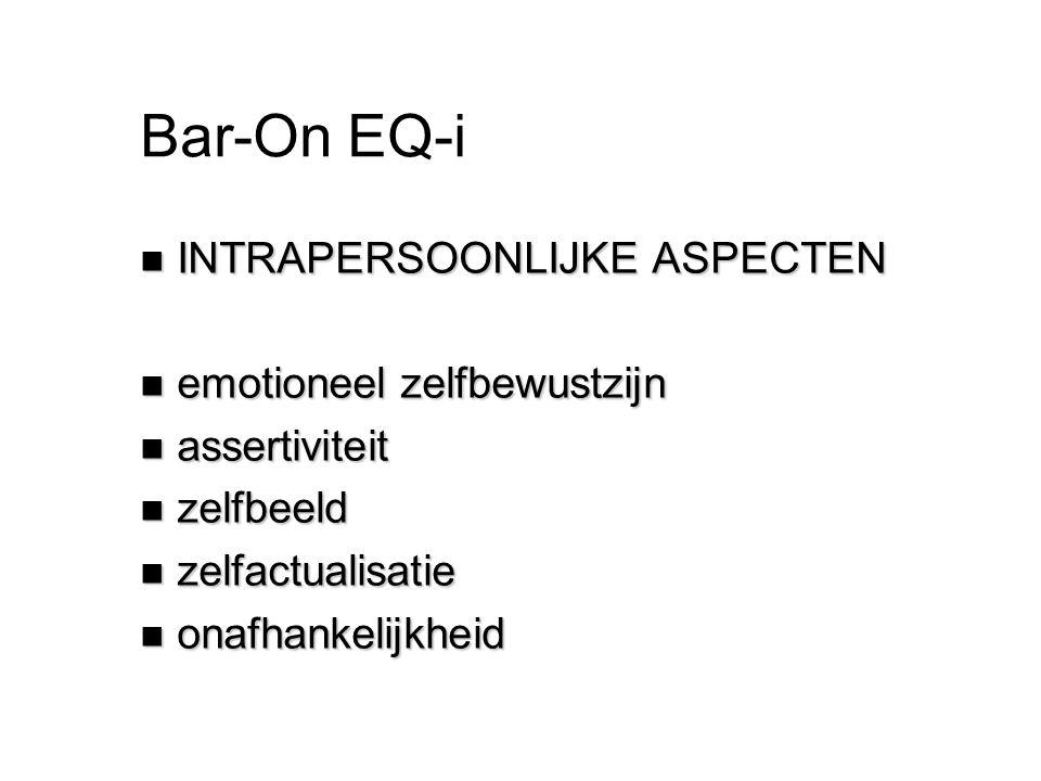Bar-On EQ-i n INTRAPERSOONLIJKE ASPECTEN n emotioneel zelfbewustzijn n assertiviteit n zelfbeeld n zelfactualisatie n onafhankelijkheid