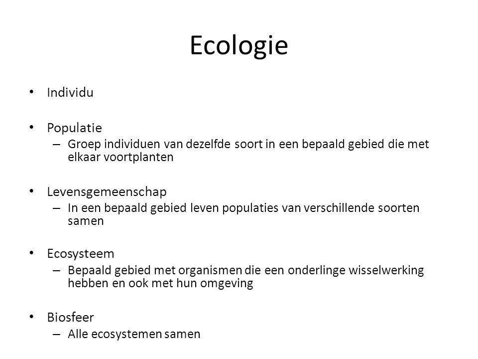 Ecologie Individu Populatie – Groep individuen van dezelfde soort in een bepaald gebied die met elkaar voortplanten Levensgemeenschap – In een bepaald