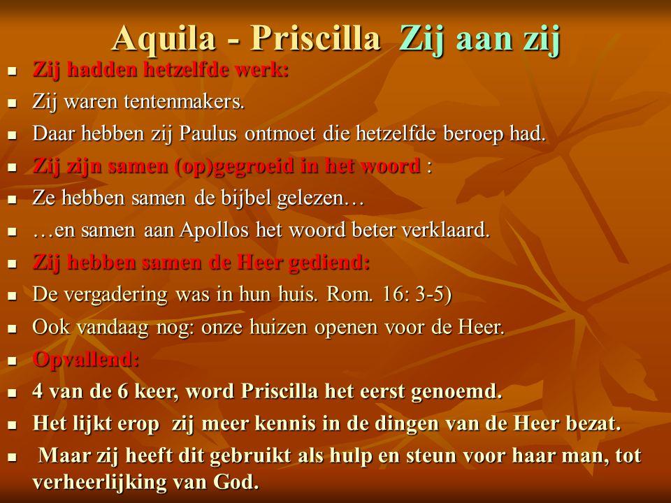 Aquila - Priscilla Zij aan zij Zij hadden hetzelfde werk: Zij hadden hetzelfde werk: Zij waren tentenmakers. Zij waren tentenmakers. Daar hebben zij P