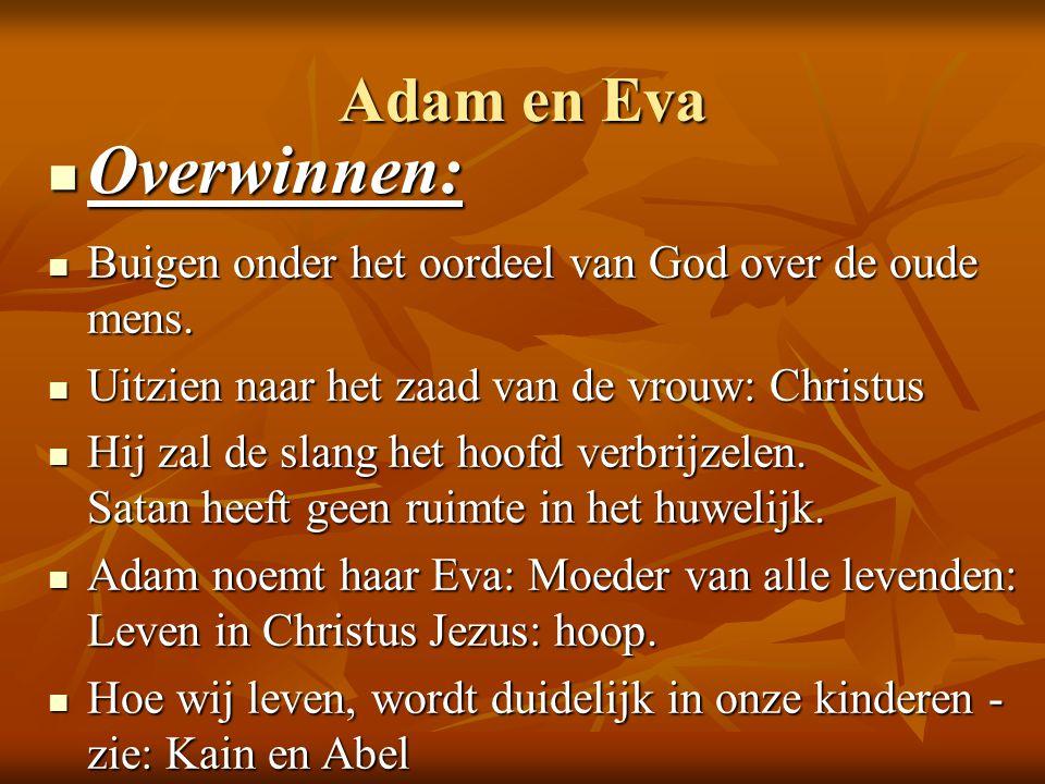 Adam en Eva Overwinnen: Overwinnen: Buigen onder het oordeel van God over de oude mens. Buigen onder het oordeel van God over de oude mens. Uitzien na