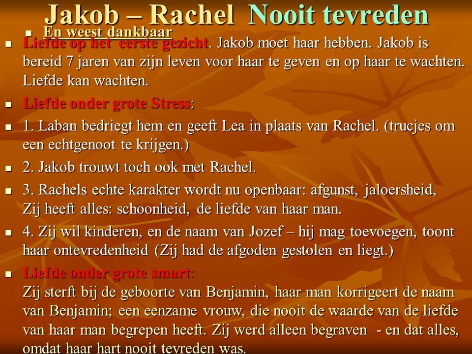 Jakob – Rachel Nooit tevreden En weest dankbaar En weest dankbaar Liefde op het eerste gezicht. Jakob moet haar hebben. Jakob is bereid 7 jaren van zi