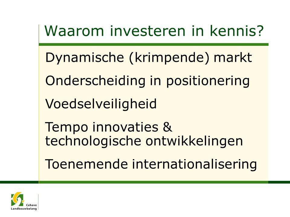 Waarom investeren in kennis? Dynamische (krimpende) markt Onderscheiding in positionering Voedselveiligheid Tempo innovaties & technologische ontwikke