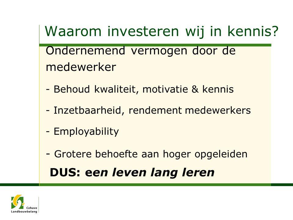 Waarom investeren wij in kennis? Ondernemend vermogen door de medewerker - Behoud kwaliteit, motivatie & kennis - Inzetbaarheid, rendement medewerkers