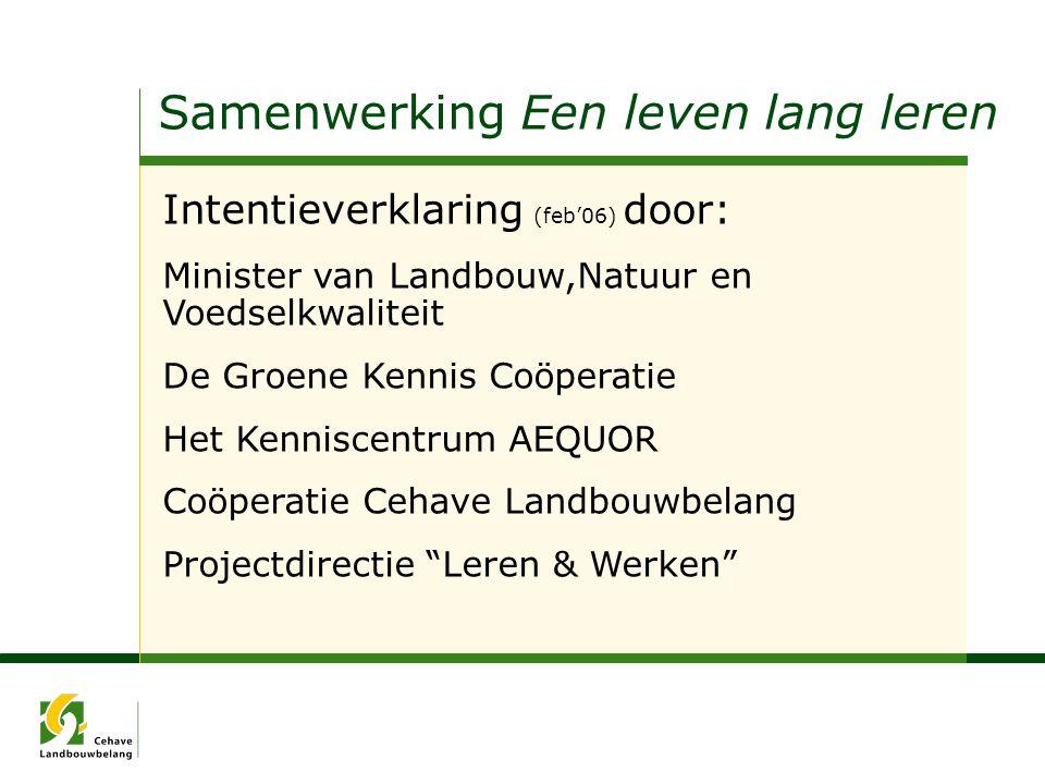 Samenwerking Een leven lang leren Intentieverklaring (feb'06) door: Minister van Landbouw,Natuur en Voedselkwaliteit De Groene Kennis Coöperatie Het K