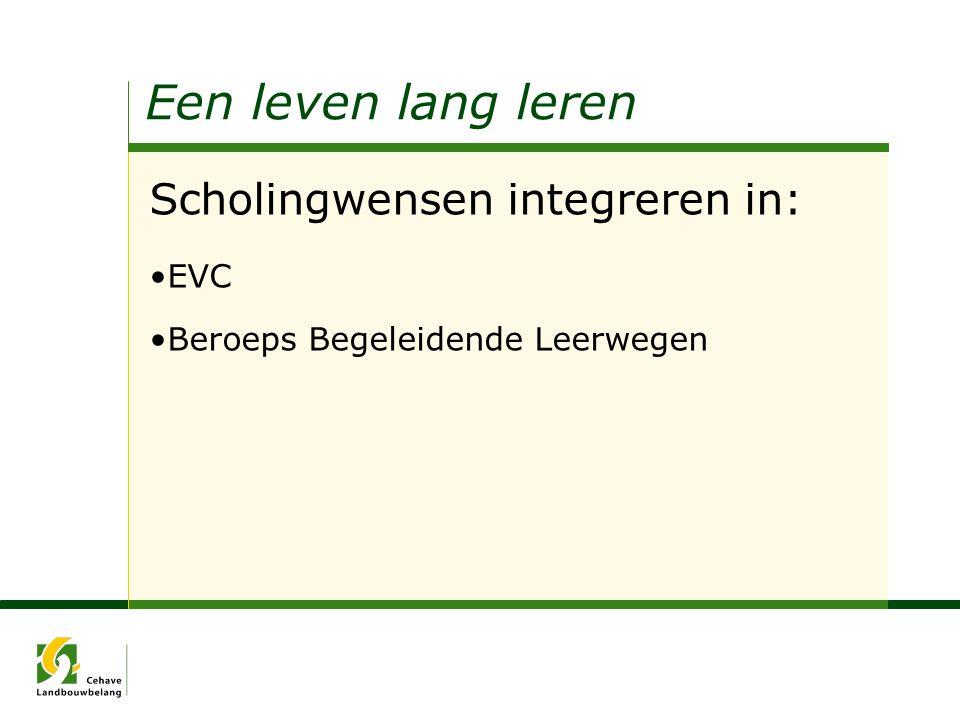 Een leven lang leren Scholingwensen integreren in: EVC Beroeps Begeleidende Leerwegen