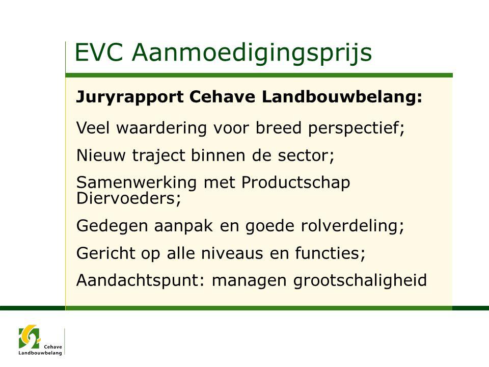 EVC Aanmoedigingsprijs Juryrapport Cehave Landbouwbelang: Veel waardering voor breed perspectief; Nieuw traject binnen de sector; Samenwerking met Pro