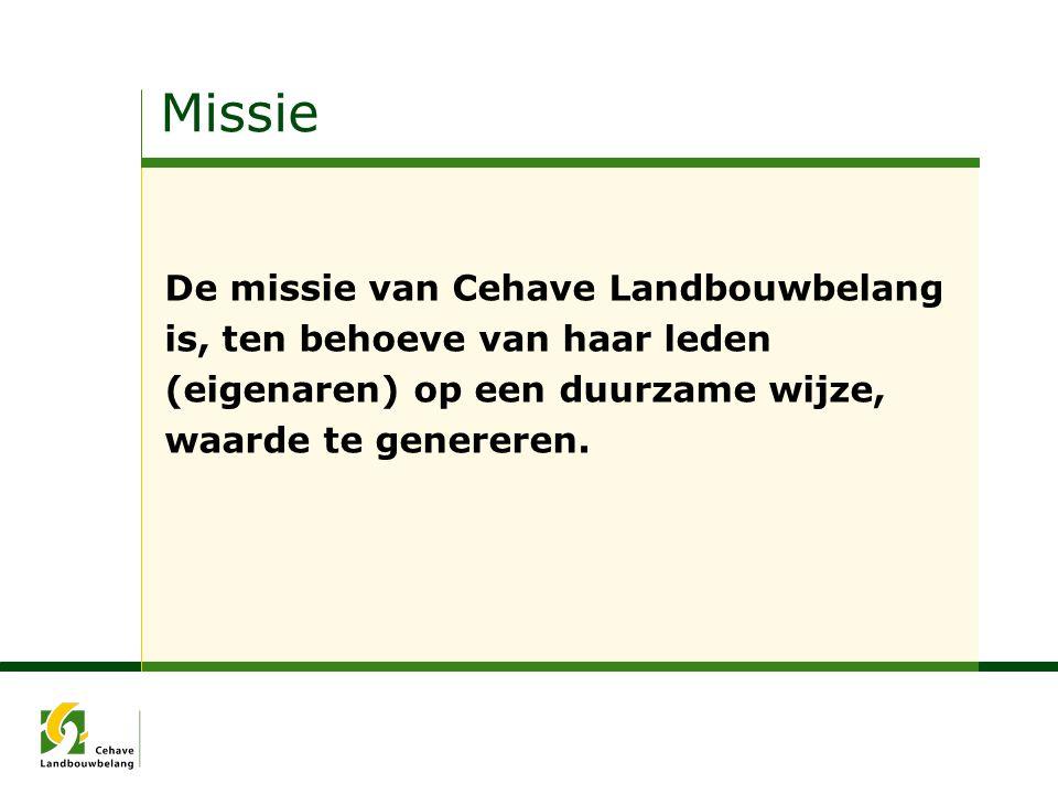 Missie De missie van Cehave Landbouwbelang is, ten behoeve van haar leden (eigenaren) op een duurzame wijze, waarde te genereren.