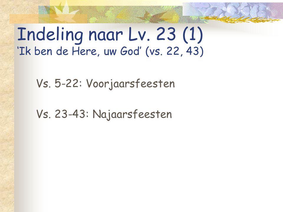 Indeling naar Lv. 23 (1) 'Ik ben de Here, uw God' (vs. 22, 43) Vs. 5-22: Voorjaarsfeesten Vs. 23-43: Najaarsfeesten