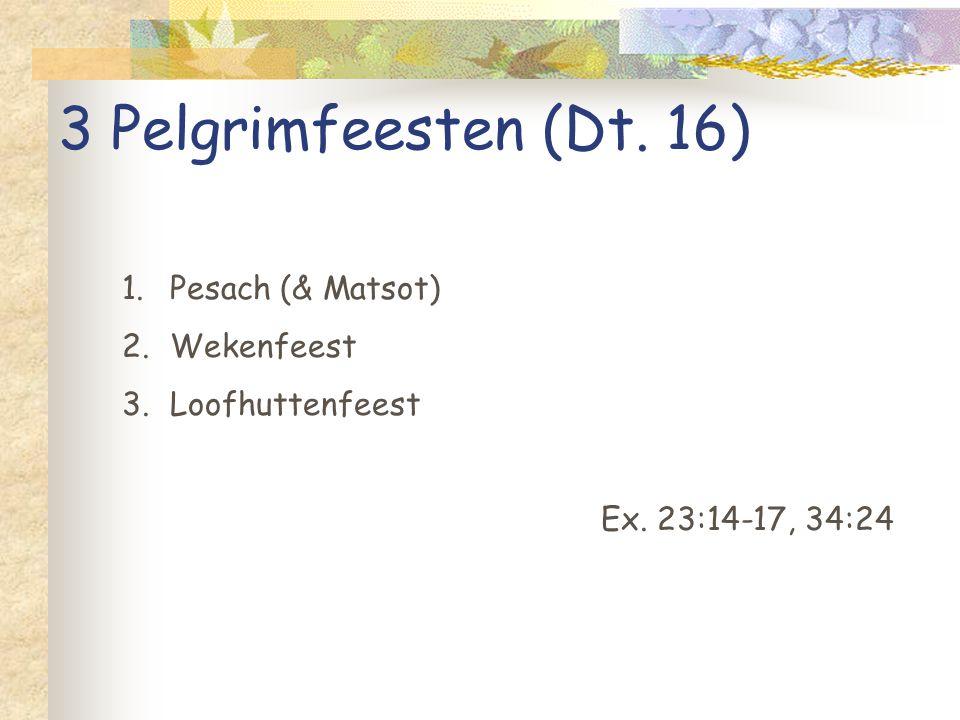 3 Pelgrimfeesten (Dt. 16) 1.Pesach (& Matsot) 2.Wekenfeest 3.Loofhuttenfeest Ex. 23:14-17, 34:24