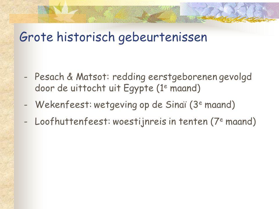 Grote historisch gebeurtenissen -Pesach & Matsot: redding eerstgeborenen gevolgd door de uittocht uit Egypte (1 e maand) -Wekenfeest: wetgeving op de Sinaï (3 e maand) -Loofhuttenfeest: woestijnreis in tenten (7 e maand)