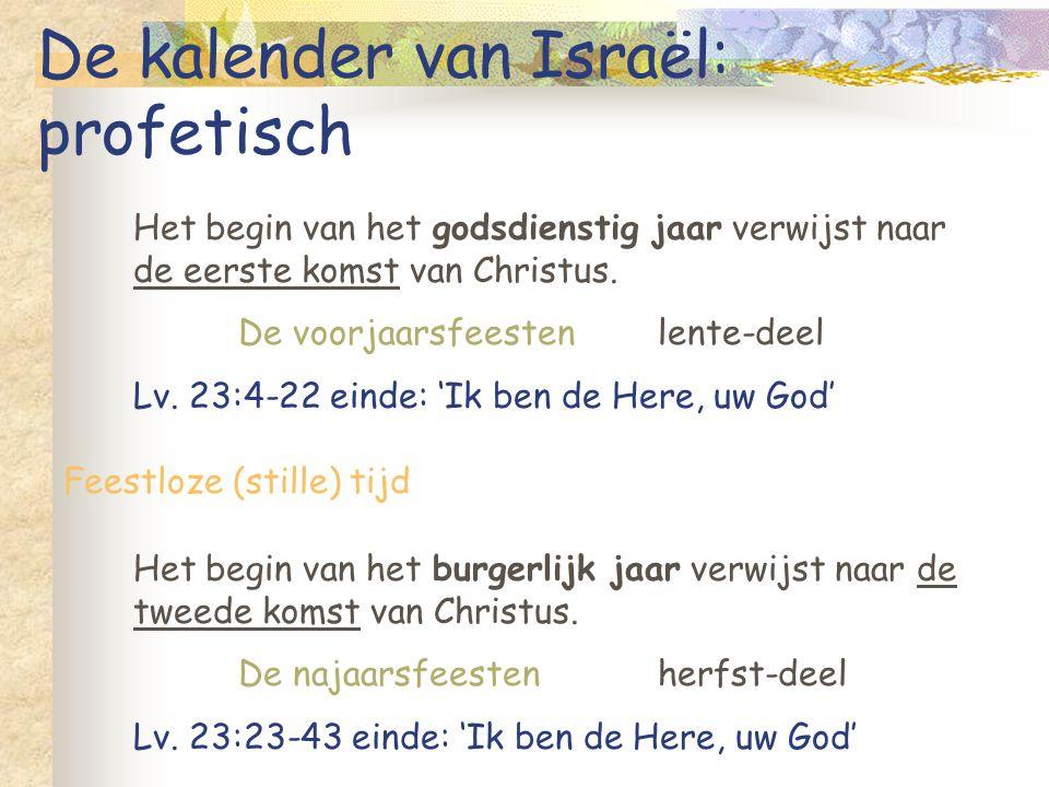 De kalender van Israël: profetisch Het begin van het godsdienstig jaar verwijst naar de eerste komst van Christus. De voorjaarsfeestenlente-deel Lv. 2