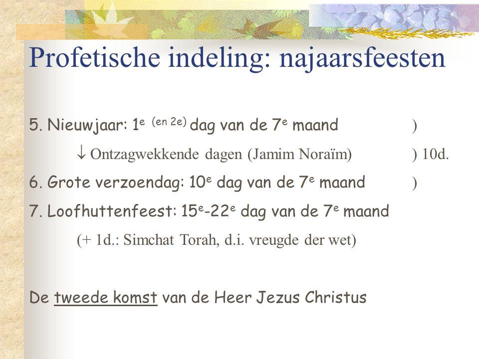 Profetische indeling: najaarsfeesten 5. Nieuwjaar: 1 e (en 2e) dag van de 7 e maand )  Ontzagwekkende dagen (Jamim Noraïm)) 10d. 6. Grote verzoendag:
