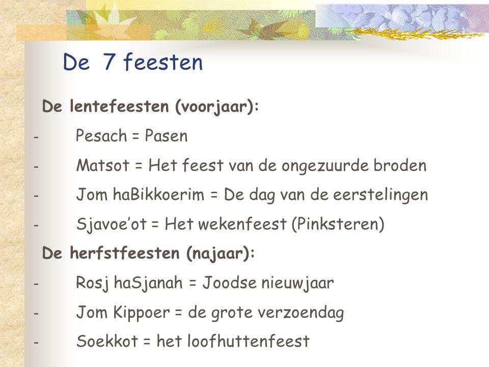 De 7 feesten De lentefeesten (voorjaar): De herfstfeesten (najaar): - Pesach = Pasen - Matsot = Het feest van de ongezuurde broden - Jom haBikkoerim = De dag van de eerstelingen - Sjavoe'ot = Het wekenfeest (Pinksteren) - Rosj haSjanah = Joodse nieuwjaar - Jom Kippoer = de grote verzoendag - Soekkot = het loofhuttenfeest