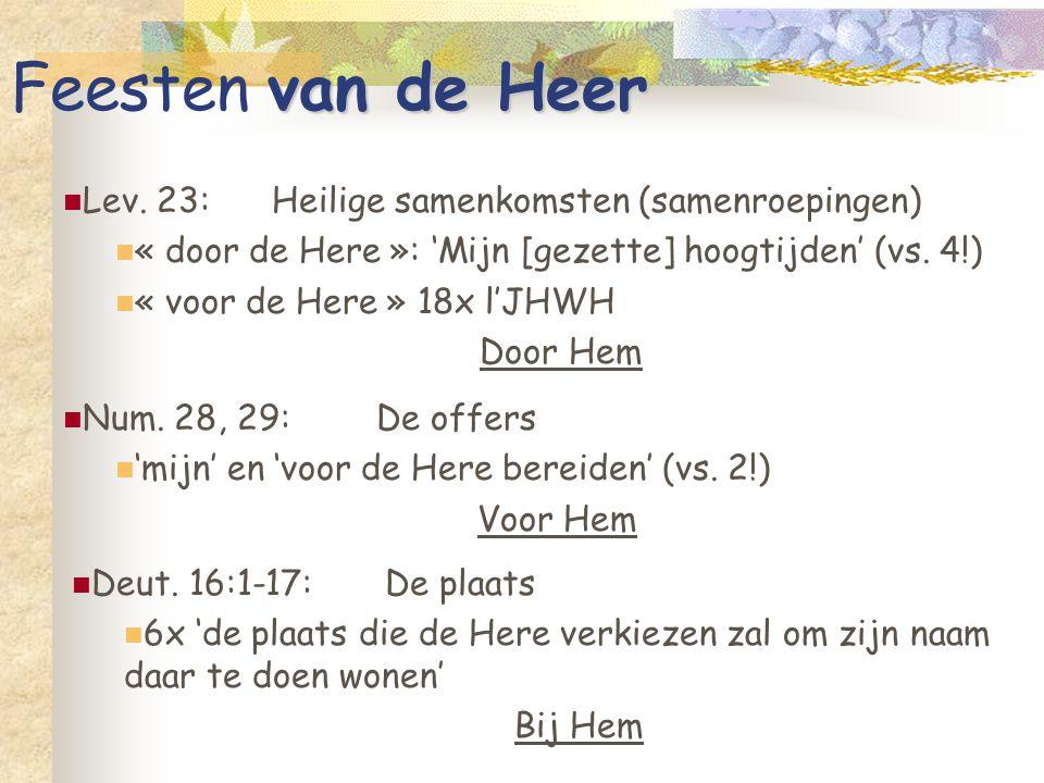 van de Heer Feesten van de Heer Lev. 23:Heilige samenkomsten (samenroepingen) « door de Here »: 'Mijn [gezette] hoogtijden' (vs. 4!) « voor de Here »