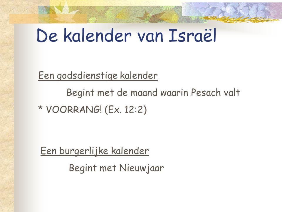 De kalender van Israël Een godsdienstige kalender Begint met de maand waarin Pesach valt * VOORRANG! (Ex. 12:2) Een burgerlijke kalender Begint met Ni
