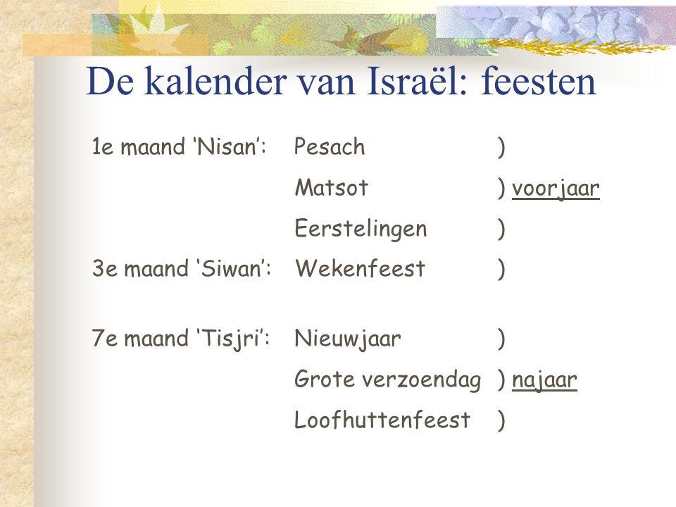 De kalender van Israël: feesten 1e maand 'Nisan':Pesach ) Matsot) voorjaar Eerstelingen) 3e maand 'Siwan':Wekenfeest) 7e maand 'Tisjri':Nieuwjaar) Grote verzoendag) najaar Loofhuttenfeest )