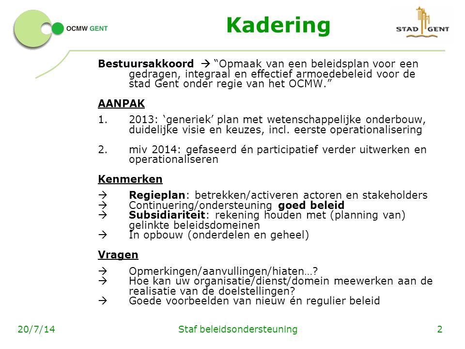 Staf beleidsondersteuning220/7/14 Kadering Bestuursakkoord  Opmaak van een beleidsplan voor een gedragen, integraal en effectief armoedebeleid voor de stad Gent onder regie van het OCMW. AANPAK 1.2013: 'generiek' plan met wetenschappelijke onderbouw, duidelijke visie en keuzes, incl.