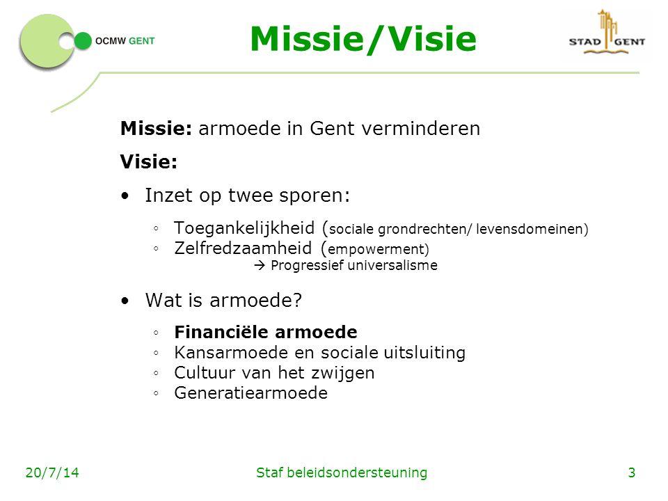Staf beleidsondersteuning320/7/14 Missie/Visie Missie: armoede in Gent verminderen Visie: Inzet op twee sporen: ◦ Toegankelijkheid ( sociale grondrechten/ levensdomeinen) ◦ Zelfredzaamheid ( empowerment)  Progressief universalisme Wat is armoede.