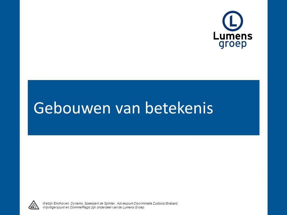 Gebouwen van betekenis Welzijn Eindhoven, Dynamo, Speelpark de Splinter, Adviespunt Discriminatie Zuidoost Brabant, Vrijwilligerspunt en DommelRegio zijn onderdeel van de Lumens Groep.