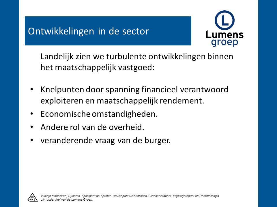 Ontwikkelingen in de sector Klik om een titel te maken Welzijn Eindhoven, Dynamo, Speelpark de Splinter, Adviespunt Discriminatie Zuidoost Brabant, Vrijwilligerspunt en DommelRegio zijn onderdeel van de Lumens Groep.