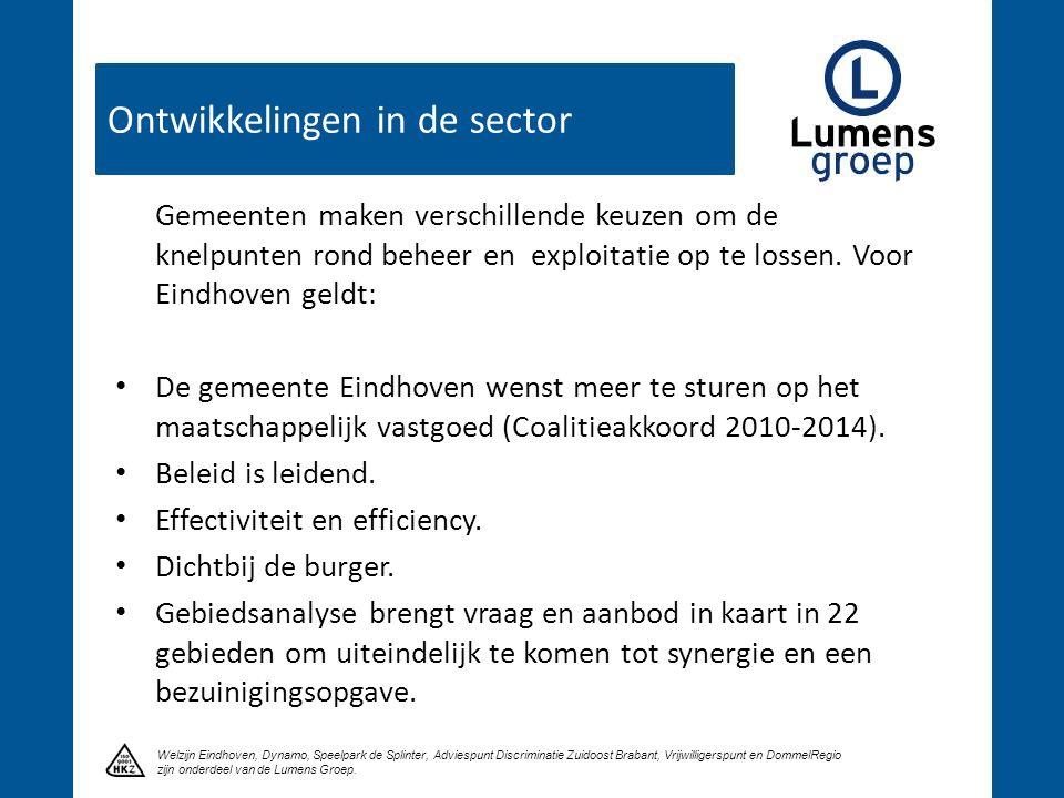 Ontwikkelingen in de sector Klik om een titel te maken Welzijn Eindhoven, Dynamo, Speelpark de Splinter, Adviespunt Discriminatie Zuidoost Brabant, Vr