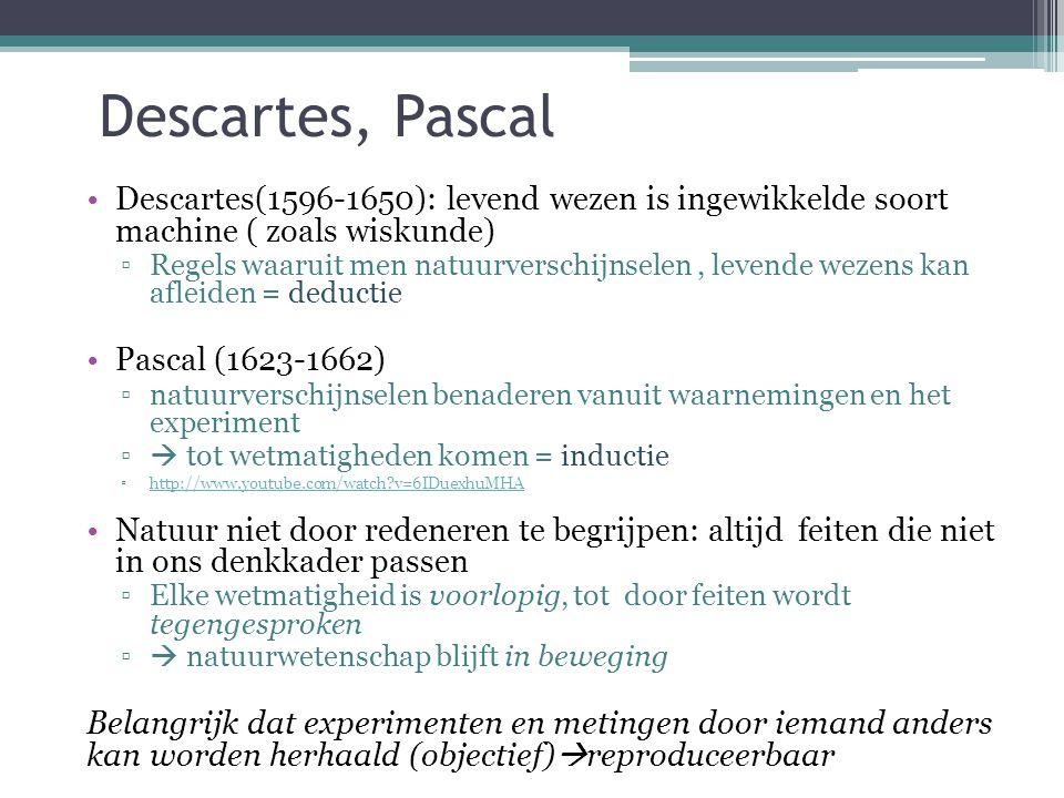 Descartes, Pascal Descartes(1596-1650): levend wezen is ingewikkelde soort machine ( zoals wiskunde) ▫Regels waaruit men natuurverschijnselen, levende wezens kan afleiden = deductie Pascal (1623-1662) ▫natuurverschijnselen benaderen vanuit waarnemingen en het experiment ▫  tot wetmatigheden komen = inductie ▫http://www.youtube.com/watch?v=6IDuexhuMHAhttp://www.youtube.com/watch?v=6IDuexhuMHA Natuur niet door redeneren te begrijpen: altijd feiten die niet in ons denkkader passen ▫Elke wetmatigheid is voorlopig, tot door feiten wordt tegengesproken ▫  natuurwetenschap blijft in beweging Belangrijk dat experimenten en metingen door iemand anders kan worden herhaald (objectief)  reproduceerbaar